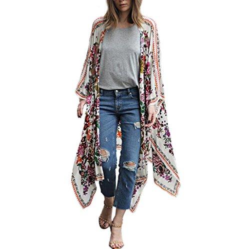 YunYoud Damen Große Größe Mantel Blumenmuster Chiffon Jacke Lose Schal Kimono Irregulär Strickjacke Tops Mode Beiläufig Outwear Jacket (XXXL, Weiß) (Groß Mantel)