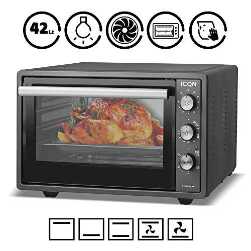ICQN 42 Liter   Anthrazit Mini-Backofen mit Innenbeleuchtung   Pizza-Ofen   Doppelverglasung   Gitterrost   Timer Funktion   Emailliert