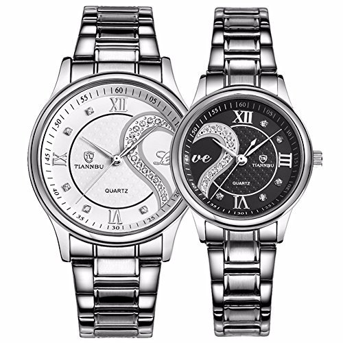 DREAMING Q&P Unisex Analog Quarz Paar Uhr mit Edelstahl Armband Schwarz 2ER-SET-MW102GWB