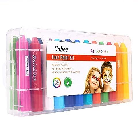 Cobee Crayon de Couleur pour Visage et Corps Crayons Corporels pour Déguisement Maquillage Peinture Faciale Non Toxique Lavable Pour Enfants Adult et Fête Anniversaire Noël (24pcs)