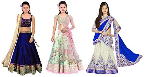 Super Deal Girl\'s Banglori & Net Semi Stitched Lehenga Choli Kids Girls Wear 8-12 Year (Free Size_Blue & Pista_SD_kidcombo12)