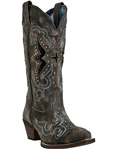 Laredo Frauen Lucretia Nieten Schlange Inlay Cowgirl Boot Snip Toe Brown 6,5 M uns
