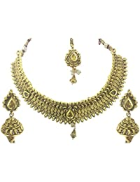 YouBella Jewellery Fashion Party Wear Gold Plated Necklace Jewellery Set With Earrings And Maang Tikka For Girls...