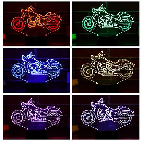 LEDMOMO Motorrad 3D Nachtlicht, 3D Illusion Lampe Visual Effect Nachtlicht mit 7 Farben Touch Switch Änderungen Nachtlicht Dekoration Geschenk