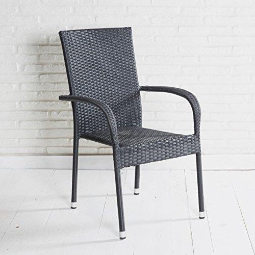 Stapelstuhl Armlehnstuhl Gartenstuhl in schwarz mit Armlehnen stapelbar für Garten, Terrasse,...