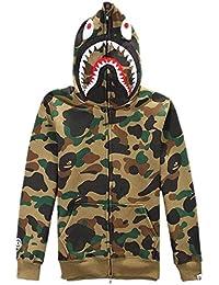 Mens Kapuzenpullover Haifisch Kapuzenpulli Camouflage Sweatshirt mit Vollreisverschluss