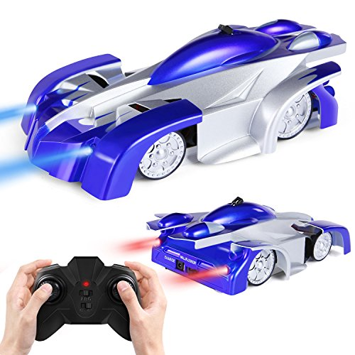 SGILE Remote Control Car Toy, Wall Climbing Climber Car with New Remote Control, Dual Mode 360� Rotating Stunt Car Racing Vehicle, LED Head Rechargeable Gravity Defying, Present for Kids Boy Girl Birthday, Blue