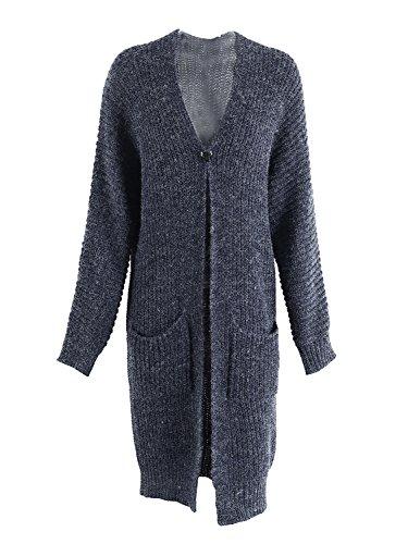 Simplee Apparel Damen Lang Cardigan Casual Langarm Strickjacke Strickmantel mit Taschen Dunkel Blau