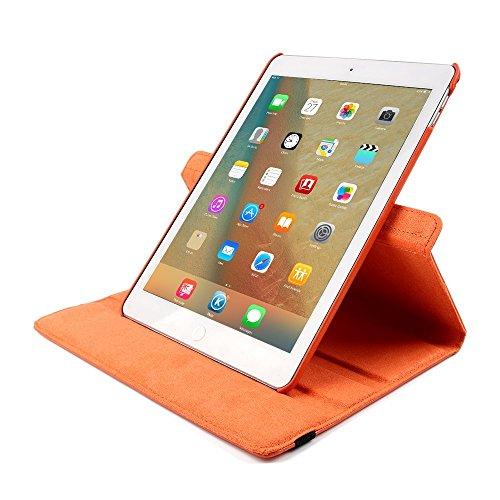 Smart Case für iPad 4 Hülle Case, elecfan® 360 Grad rotierend Kunstleder Schutzhülle Tasche Etui Smart Cover mit Auto Schlaf / Wach, Standfunktion, für iPad 2/3/4 (iPad 2/3/4, Braun) Orange