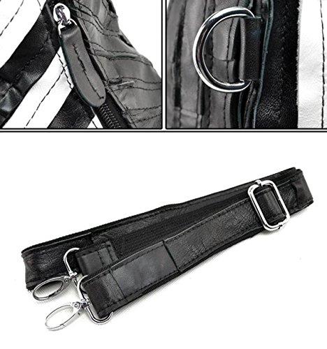 Di Spalla Abbigliamento Vera Myll Pelle Shopping Borsa Gnocchi Big Diagonal Rugosa Cucitura Pecora Blackandwhite Pacchetto Bag Retro