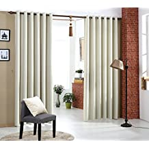 Cortinas Opacas Térmicas Aislantes con Ollaos para Hogar Dormitorio Salón y Oficina, 2 Piezas, 140x245cm, Beige