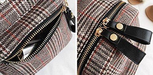 FZHLY Damen Rucksack Woolen Plaid Schultern Tasche CoffeeColor
