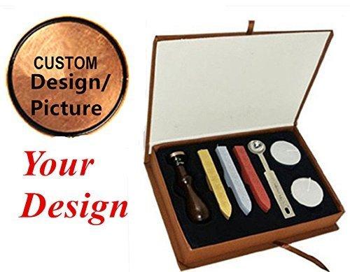 MDLG Vintage Custom Made Buchstabe Bild Logo Personalisierte Hochzeit Einladung Wachssiegel fadensiegelung Stempel Sticks Löffel Geschenk-Box Set