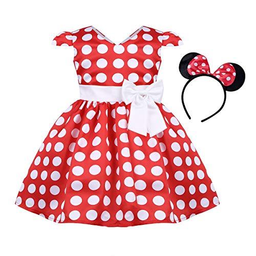 iiniim Baby Mädchen Kleid Prinzessin Kleid Polka Dots Mini Kleid mit Maus Ohren Cosplay Fasching Karneval Kostüm Festlich Partykleid Gr.80-116 Rot 92-98/2-3 ()