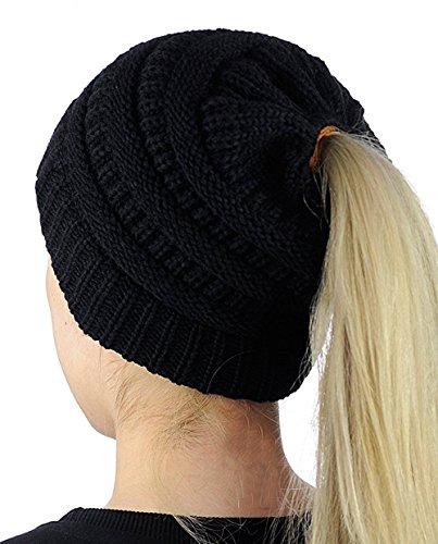 Supstar Damen Mädchen Gestrickt verdicken Hut Mit Zöpfen Loch Loop Strickschal Strickmütze Wintermütze Warmen Zopf-hüte Für Frauen