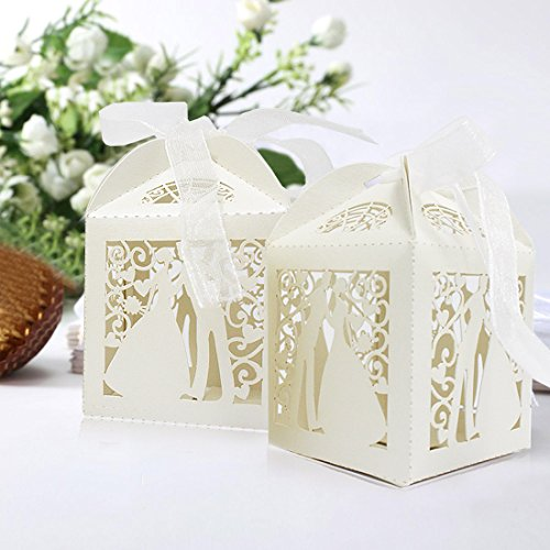 50Laser geschnitten Hochzeit Dusche Taufe Hochzeit Festival Celebration Hohl Party Favor Süßigkeiten Geschenk Boxen mit Bändern, Ivory Bride & Groom (Small Favor Boxen)