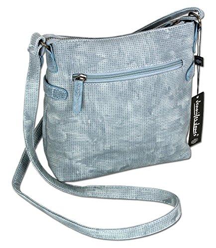Jennifer Jones Taschen Damen Damentasche Handtasche Schultertasche Umhängetasche Tasche klein Crossbody Bag hellgrau / jeans-blau (3121) (Braun) Eisblau