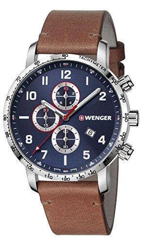 WENGER Hommes Chronographe Quartz Montre avec Bracelet en Cuir 01.1543.108