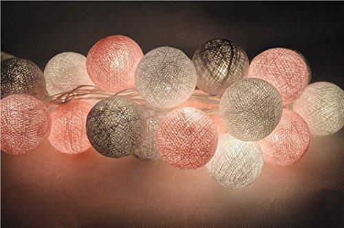 20 Baumwolle Kugel Led Batteriebetrieben Lichterkette Stoff Ball ... Schlafzimmer Grau Rosa