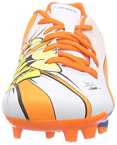 Puma - Evopower 4.2 Pop Fg Jr, Scarpe da calcio Unisex – Bambini Bianco (Weiß (white-orange clown fish-electric blue lemonade 01))