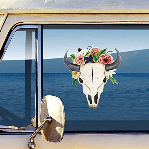 Calavera Toro con Flores Etiqueta de La Pared de Vinilo Color Portátil Calcomanías de Cuerpo de Coche Autoadhesivo Wallpaper Decoración Del Hogar