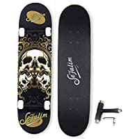 Sefulim Skateboard Completo Niños Y Adultos Monopatin Negro con 7 Capas De Madera De Arce Canadiense Longboard Cruiser Cráneo con Los Rodamientos