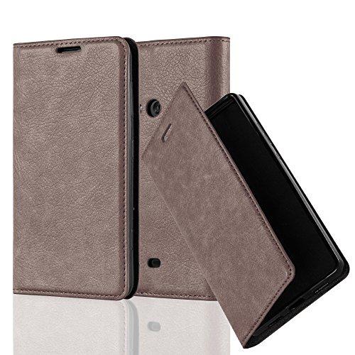 Cadorabo Hülle für Nokia Lumia 625 - Hülle in Kaffee BRAUN – Handyhülle mit Magnetverschluss, Standfunktion und Kartenfach - Case Cover Schutzhülle Etui Tasche Book Klapp Style