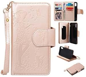 COZY HUT Custodia iPhone X, iPhone X Flip Custodia Cover Case, Ragazza Farfalle Fiori Gatto Modello Creative Disegno Stampa Stile del Libro Portafoglio Cover Case Strap in PU Cuoio Wallet Caso Cop