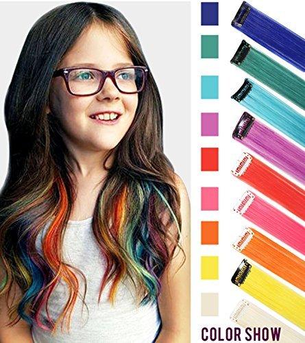 rlängerungen Clip In / On Für Mädchen und Kinder Perücke Stücke für Puppen 9 STÜCKE Regenbogen Farbe ()