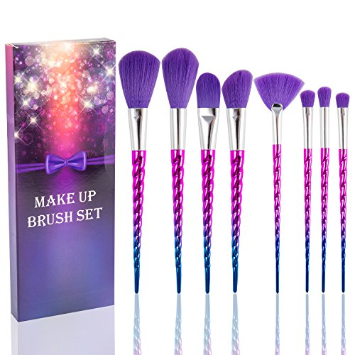 Fashion Base® - Lot de 8 pinceaux de maquillage de qualité supérieure - Dégradé arc-en-ciel - Synthétiques - Pour poudre, contour, illuminateur, fond de teint liquide, correcteur, fard à paupières, sourcils - Cadeau idéal pour femme