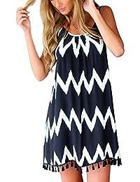 JXLOULAN Las mujeres Sleevelss corta ocasional del mini vestido Vestido de tirantes flojo partido de coctel de la tarde de primavera y verano de la playa de la borla de la falda del vestido