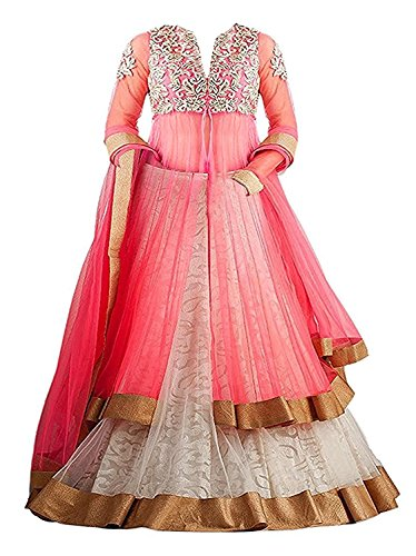 Fashion Vogue Girl's Pink Color Soft Net Semi Stitched Lehenga Choli With...