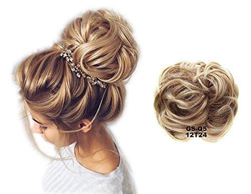 ShowPower Haargummi Haarteil hairpiece Haarverdichtung Zopf Haarband Haarschmuck Hellbraun Pale Golden Blonde 12T24