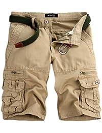 Shorts Cargo de Poche Occasionnels de Couleur Pure pour Hommes Pantalon de  Travail de Plage Malloom 926c1d56b25