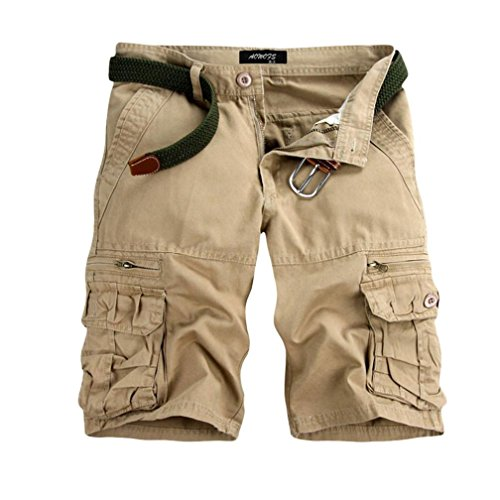 GreatestPAK Pants Pure Color Shorts Herren Outdoor Taschen Strand Arbeit Hosen Cargo Pant,35(XXL),Beige -