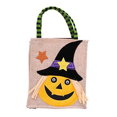 Happy Halloween Geschenktüten wiederverwendbare Cartoon-Tote Bag Cute Candy Bag Griff Tasche Deko Taschen für Halloween Geburtstag Gitfs, kürbis, 26 * 15cm