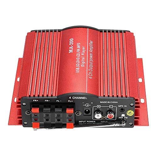 KKmoon HiFi Audio Estéreo Amplificador 4 Canales Subwoofer Coche MP3 Altavoz USB SD FM