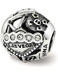Black Bow Jewellery Company : Las Vegas Collage Sterling Silver Bead Charm with Swarovski Crystals