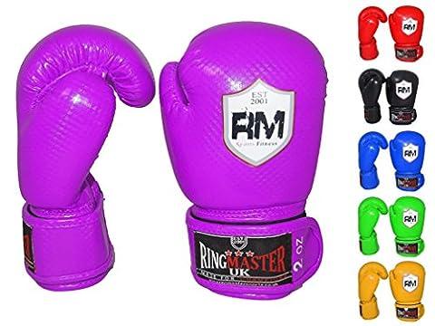 RingMasterUK Kids Boxing Gloves Synthetic Leather Training Sparring Punch Bag Mitt Purple (6 oz)
