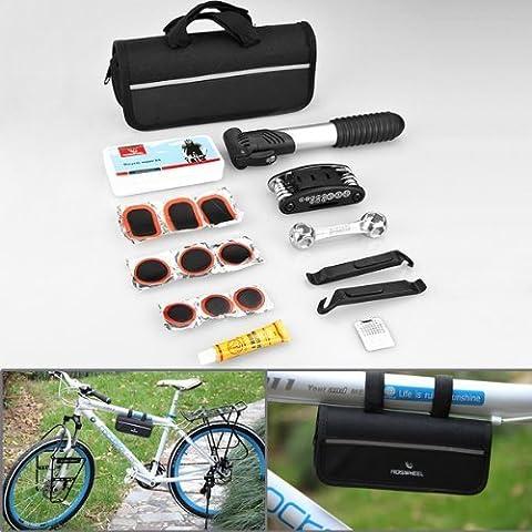 Astra Depot Design compact 16en 1multifonctions Usage Pneu vélo pour vélo Outils de réparation Kits Set complet + Mini pompe portable