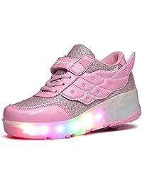 LILY999 Mädchen Rosa Skateboard Schuhe Mit Rollen Flügel-Art Rollen Verstellbare LED 7 Farbe Farbwechsel Lichter blinken Räder SchuheTurnschuhe