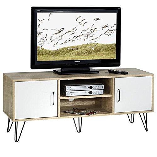 IDIMEX Meuble Banc TV Design EVA MDF décor Blanc et chêne Sonoma Pieds métalliques Noirs