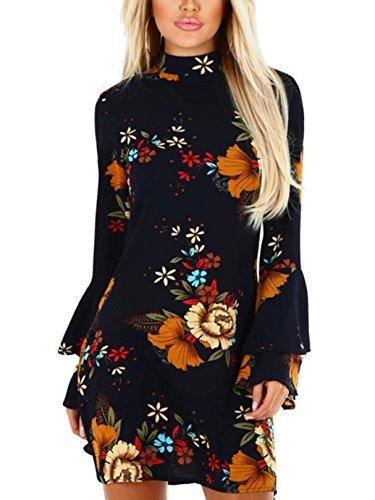 YOINS Damen Kleider Sommerkleid Ärmel Random mit Blumenmuster Kragen Ausgestellte Kleid 03 S/EU36-38