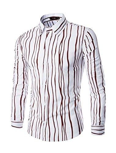 sourcingmap Hommes Manches Longues Veste Droite Rayures Chemise Coupe Cintrée Marron
