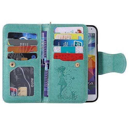 Coque pour Apple iPhone 6 plus/6s Plus 5.5,Ecoway Femme et chat 3D en relief étui en cuir PU Cuir Flip Magnétique Portefeuille Etui Housse de Protection Coque Étui Case Cover avec Stand Support Avec d Green