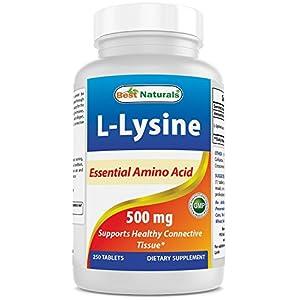 51Mnh5izP8L. SS300  - Best Naturals L-Lysine 500 mg 250 Tablets