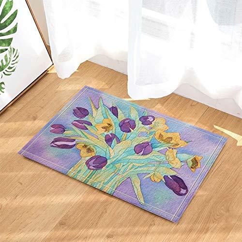 Primavera natura fiori bagno tenda acquerello fiore viola con foglie per amante tappeti da bagno antiscivolo zerbini da pavimento pavimenti interni zerbino per bambini tappetino da bagno 60x40cm