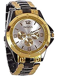 Freny Exim Luxurious And Unique Black Golden Belt White Dial Mens Analog Watches For Boys