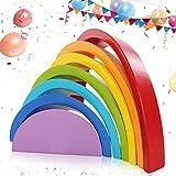 KINGSO 7 Pz di Giocattoli Educativi in Legno a Forma di Arcobaleno, Set di Legno Arco Multicolore Costruzioni per Bambini, Set di Blocchi in Legno Colorato per Creatività di Bambini