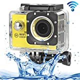 ALLSHOPSTOCK (#33) H16 1080P Portable WiFi Waterproof Sport Camera, 2.0 inch Screen, Generalplus 4248, 170 A+ Degrees Wide Angle Lens, Support TF Card(Yellow)